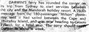 Ferry - Milson